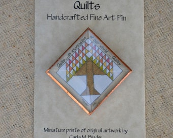 Tree of Life Quilt Square Folk Art Pin with Beveled Glass Face and Copper Edging