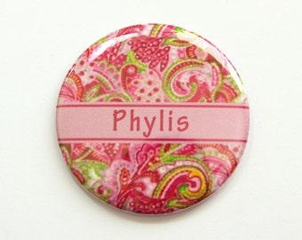 Personalized pocket mirror, custom pocket mirror, pocket mirror, mirror, purse mirror, paisley mirror, paisley design, pink (3899)