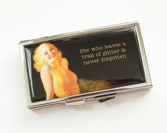 7 day pill case, Pill box, Funny Pill case, Pill case, 7 sections, Humor, Funny Saying, retro, Never Forgotten, Black, Yellow (3931)