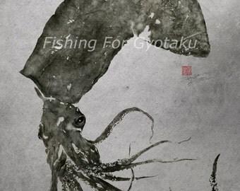 GIANT SQUID (Humboldt Squid) GYOTAKU print - traditional Japanese fish art - by dowaito