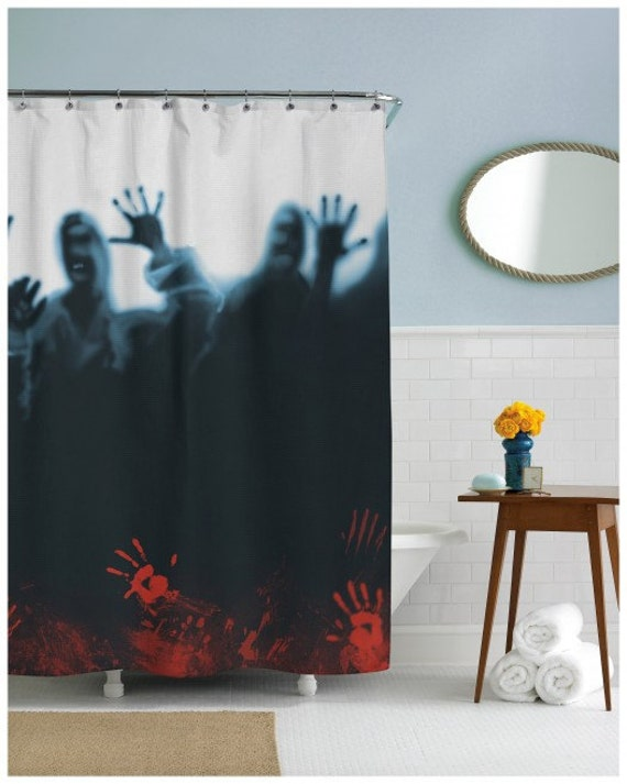 Zombies horde shower curtain in this house we by for Zombie bathroom decor