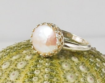 Coin Pearl Ring .  10 mm . Crown Setting  .  Size 7 and Size 8
