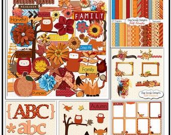 Fall Scrapbook Kit Bundle,  Autumn Owls, Leaves, Fox, Pumpkin, Clip Art Instant Download