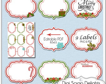 Christmas Clip Art Labels, Editable PDF & Pngs, Add Your Text, Red, Green, Logos, Cards,  Digital Scrapbooking,  Instant
