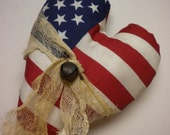 Patriotic Heart Ornament, American Flag Heart, Americana Pillow Tuck,