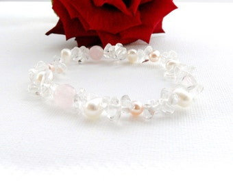 Pearl Bracelet - Freshwater Cultured Pearl, Rose Quartz, Clear Crystal Strech Bracelet