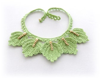 Crochet Choker - Crochet Cotton Necklace - Beaded  Leaves Necklace - Pastel Necklace