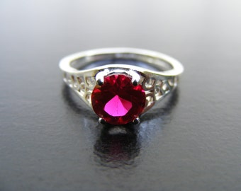 15% Off Sale.S240 Made to Order...New Sterling Silver Antique Style Filigree Ring with 1 Carat Lab Ruby Gemstone
