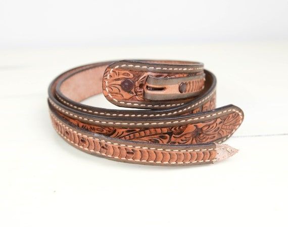 vintage tooled leather western ranger belt by lazydaysrelics