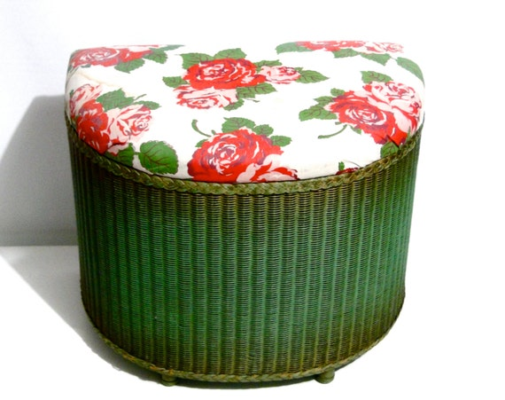 Vintage Wicker Clothes Hamper French Country Cottage Shabby