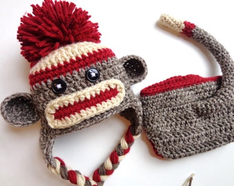 Newborn Classic/ Traditional Brown Sock Monkey Hat and Diaper Cover