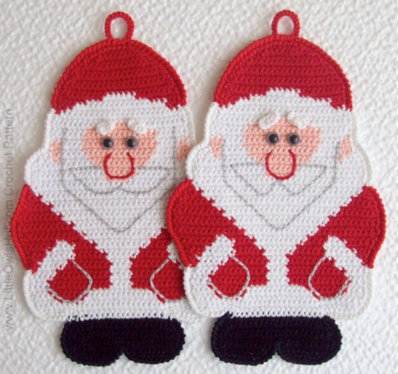 039 Santa Claus Crochet Pattern, Father Christmas, Father Frost, Decor or Potholder, New Year pattern, Amigurumi - by Zabelina Etsy