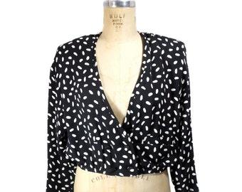 vintage 1980s SONIA RYKIEL polka dot blouse / black white / rayon / wrap bolero blouse / 80s blouse / women's vintage blouse / size 42