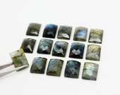 GU067 - Natural Labradorite Faceted Cabochon - 13x18mm Rectangular - Gemstone Cabochon - Semi Precious Gemstone - AA Quality - 1 Pc