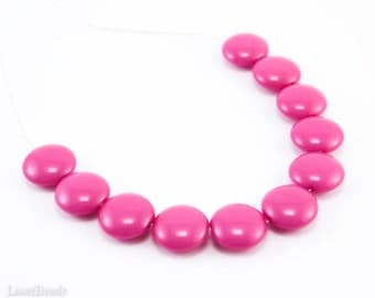 Pink Lentil Glass Beads 14mm (10) Opaque Pressed Czech Flat Round Disc Coated Bright last