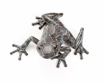 Limited edition bronze tree frog (looking left) No.2 Black/turquoise