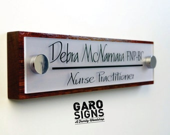 Office Door Sign: Professional Personalized Wood Sign Gift 10 x 2.5