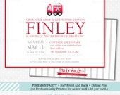 Fire Truck, Fireman, Firefighter, Fire Station 5X7 Birthday invitation Digital front and back File by The Silly Nilly Studio