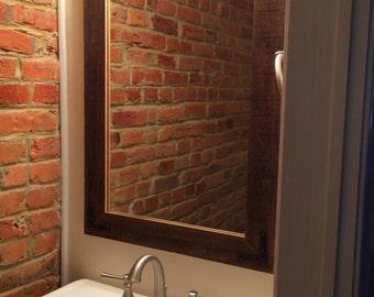 24x36 Reclaimed Wood Bathroom Mirror - Rustic Modern Home Decor - Eco Friendly - Hurd and Honey - Home - Mirror