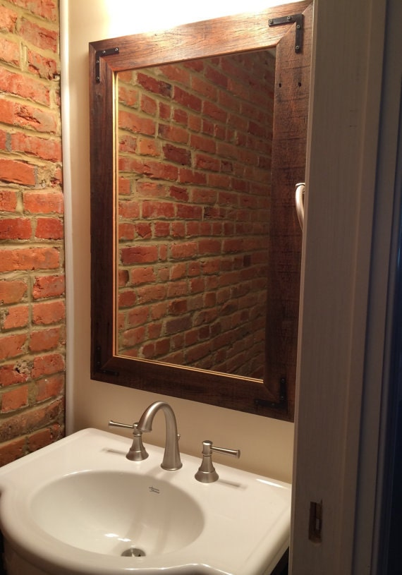 24x36 reclaimed wood bathroom mirror rustic by hurdandhoney 20112