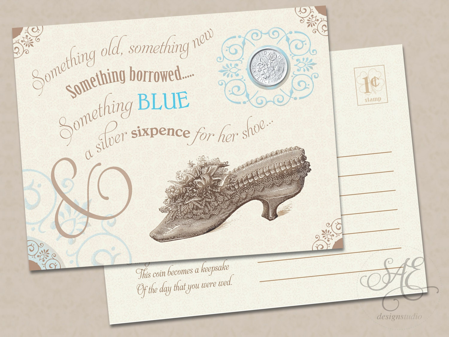 Wedding Gift Card Shower : Something old new borrowed blue a lucky silver sixpence tucked
