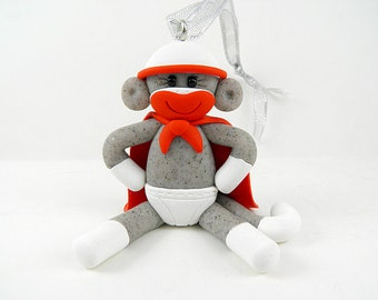 Super Hero Sock Monkey Christmas Ornament Polymer Clay