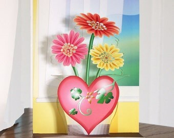 Mothers Day card Popup Flowers card in Heart Vase 3D Gerber daisies