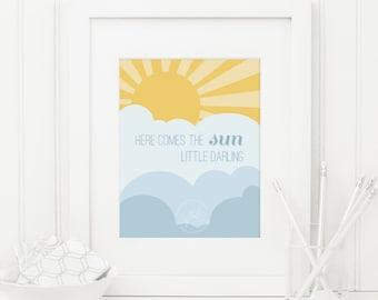 Here Comes The Sun Art Print / Beatles Art Print / Nursery, office, kids, child, girl / 8x10