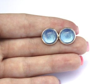 Blue Sky Shimmer Earrings - Posts/Studs - Bubbles Collection You Pick Size L, M, S (B7)