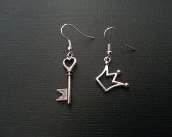 Kingdom Hearts Inspired Key And Crown Earrings