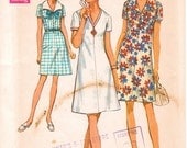 """Vintage 1960s Half Size A Line Short Shift Dress With Collar, Simplicity 8751, Size 22 1/2 Fits Bust 45"""" (114.3cm), Free US Shipping"""