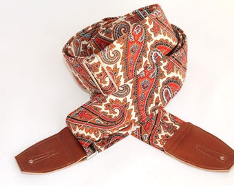 Bronze Paisley Guitar Strap with Russet Leather