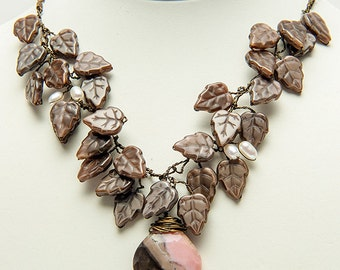 Pink and Brown Statement Necklace, Leaf Necklace, Leaf Jewelry, Nature Jewelry,