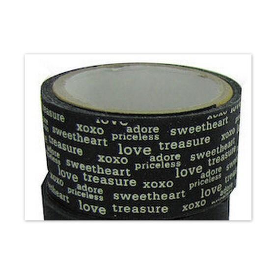 Ribbon Twill Washi Tape Valentine's Day Self Adhesive  xoxo love adore sweetheart