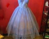 1950s Emma Domb Net Prom Dress Elegant Evening Blue Medium Large