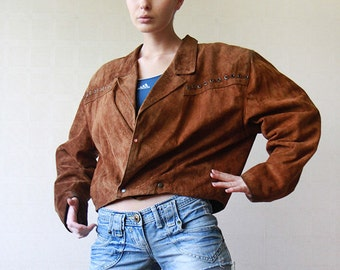 Camel brown leather suede wide shoulder jacket