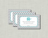 Blue Elephant Diaper Raffle Ticket Baby Shower Printable--instant download