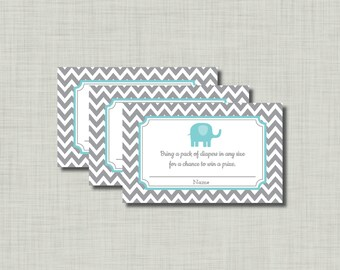 Blue Elephant Diaper Raffle Ticket Baby Shower BE56 Printable - Instant Download