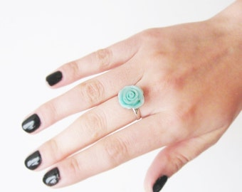 Mint Rose Ring Flower jewelry Adjustable Cocktail ring Valentine gift Rose jewelry Small gift for you