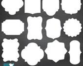 Basic White Frames, Basic Digital Labels, Digital Clipart, Digital Scrapbooking Frames, White Labels, png & eps - INSTANT DOWNLOAD