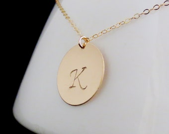 Gold Initial Necklace, Personalized Name Disc , Mommy Jewelry, Mothers Necklace, Sister Mom Aunt Cousin, 14kt Gold Filled, Valentines