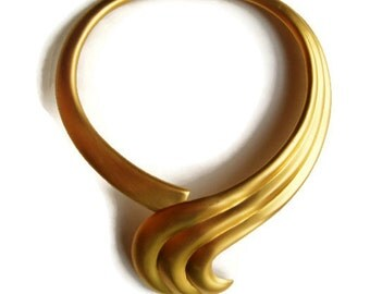 Vintage Alexis Kirk Sculptural Matte Gold Swirl Collar