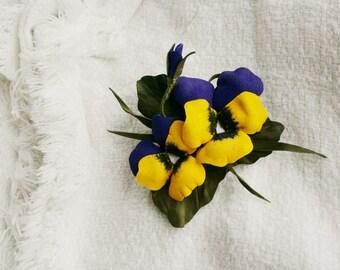 Leather pansies flowers brooch