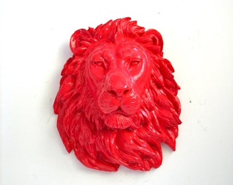 Large Faux Taxidermy Lion Head wall mount wall hanging home decor:  Leonard the Lion in bright red