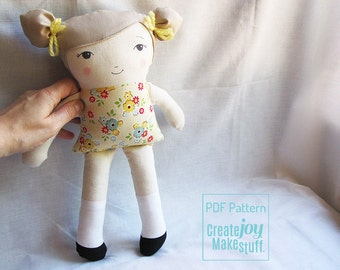 Girl Doll Sewing Pattern - PDF printable - Tutorial, simple, easy, cloth, fabric, softie, stuffed, soft, toy, pdf cloth doll pattern