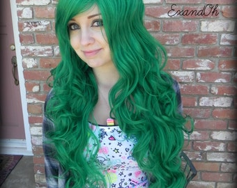 SUMMER SALE // Green Long Wig, Emo Scene wig, Curly Cosplay Hair, Halloween wig, Dress Up Costume, Christmas Green, Jade