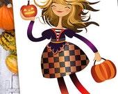 Halloween Home Decor Print Illustration Pumpkin Halloween Wall Art Holiday Decor Decoration Wall Decor Fall Autumn