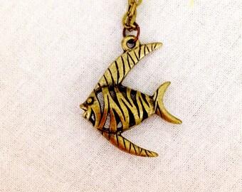 Bronze hollow Angel fish pendant necklace s