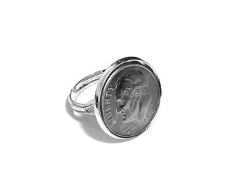 """Dime Ring - """"Dime In"""" Diamond Ring Play on Words - Free Shipping"""