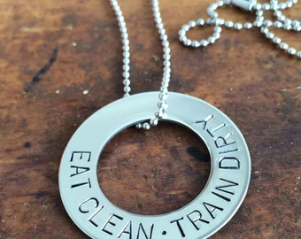 Eat Clean Train Dirty- Fitness Motivation Necklace